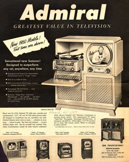 Admiral Corporation's Television Consoles – Admiral. Greatest Value in Television (1950)