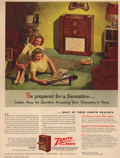 Zenith Radio Corporation's Various – Be prepared for a Sensation... Listen Now to Zenith's Amazing Twin Triumphs in Tone (1948)