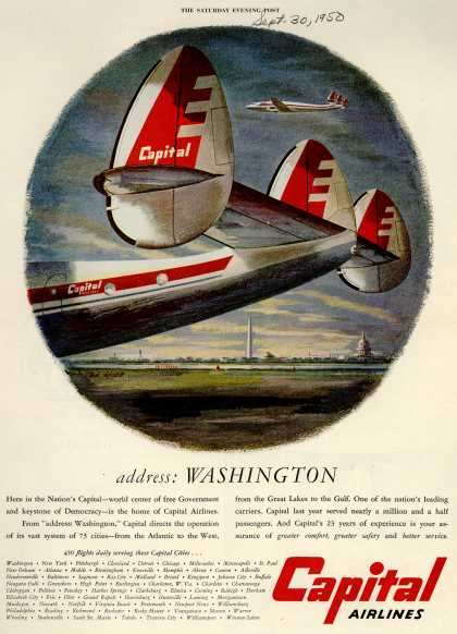 Capital Airline's Washington – address: Washington (1950)