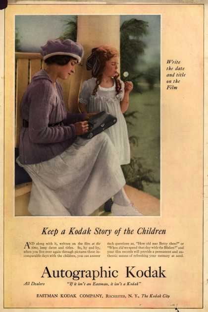 Kodak's Autographic cameras – Keep a Kodak Story of the Children (1919)