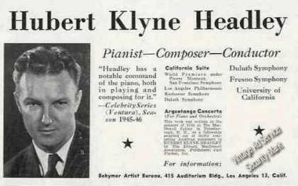 Hubert Klyne Headley Pianist/compose (1946)