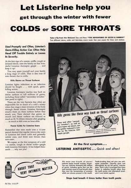 Lambert Pharmacal Company's Listerine – Let Listerine help you get through the winter with fewer Colds or Sore Throats (1954)