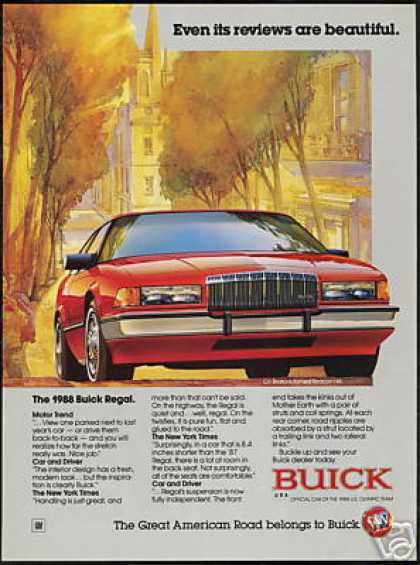 Red Buick Regal Car Boston Beacon Hill (1988)