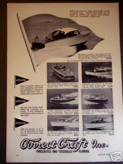 Correct Craft Boats Sport Fisherman + 6 Models (1950)