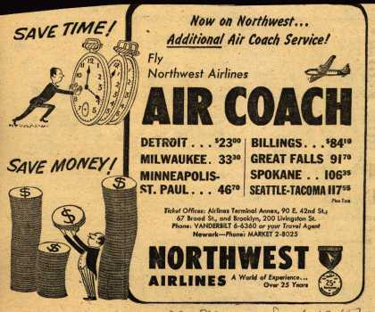 Northwest Airline's Air Coach – Fly Northwest Airlines AIR COACH (1951)