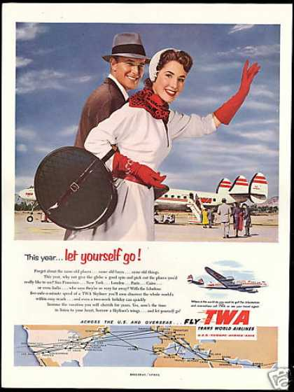TWA Airlines Skyliner System Map Photo (1953)