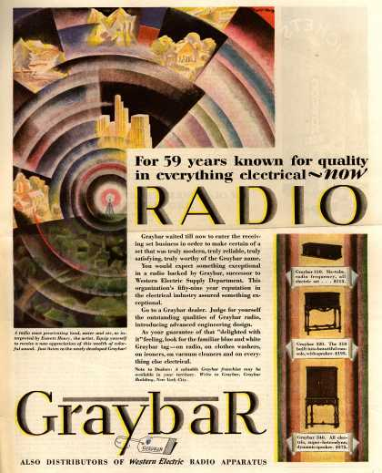 Graybar's Various – For 59 years known for quality in everything electrical – now Radio (1928)