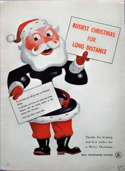 Bell Telephone Santa Old Phone Christmas Calling (1946)