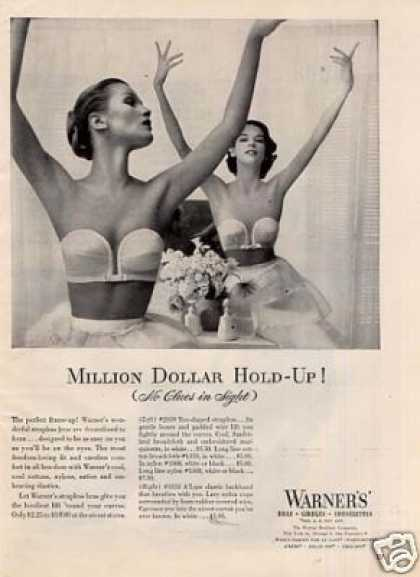 "Warner's Bra Ad ""Million Dollar Hold-up... (1952)"