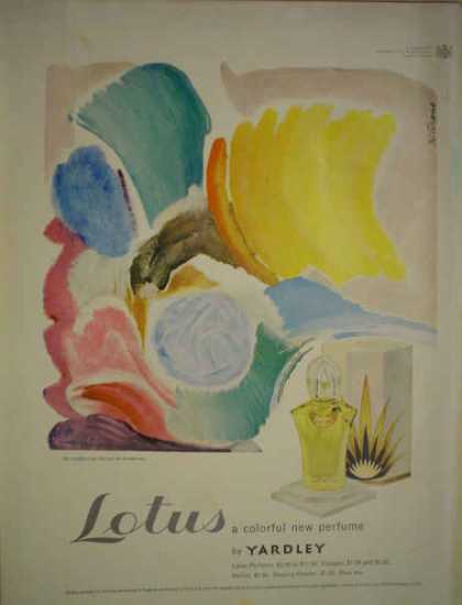 Lotus colorful new perfume by Yardley Cologne sachet powder (1949)