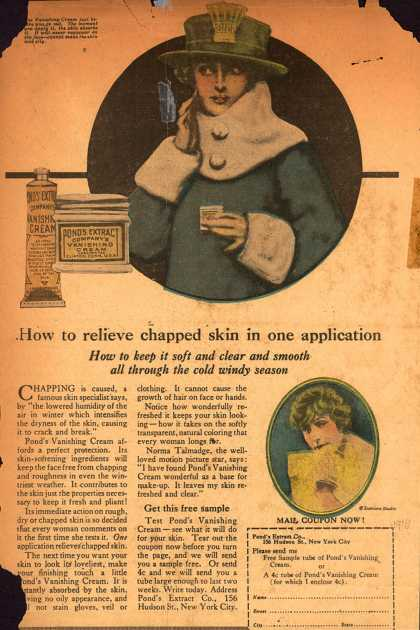 Pond's Extract Co.'s Pond's Vanishing Cream – How to relieve chapped skin in one application (1916)