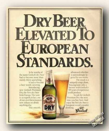 Grolsch Dry Beer Elevated To European Standards (1989)