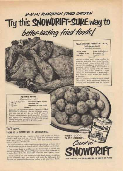 Snowdrift Vegetable Shortening (1951)