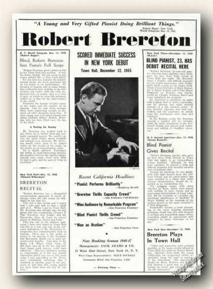 Robert Brereton Photo Pianist Rare Ad Music (1946)