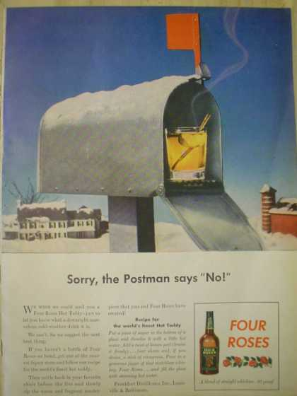 Four Roses Whiskey. The postman says no (1945)