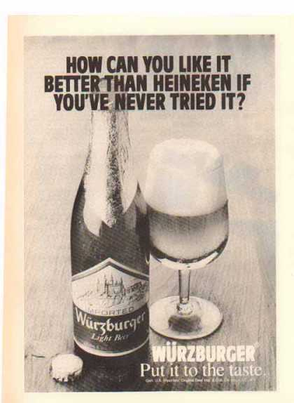 Wurzburger Beer – Imported Light Beer (1977)