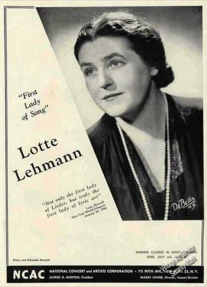 Lotte Lehmann Soprano Photo Lieder Lyric Art (1944)