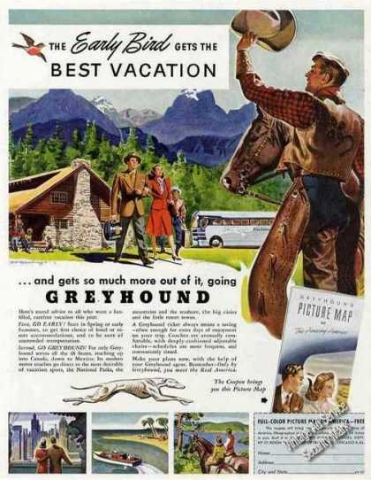 Greyhound Highway Tours Vacations Promo (1947)