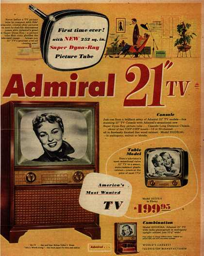 "Admiral Corporation's 21"" TV with the Super Dyna-Ray Tube – First Time Ever! with New 252 sq. in. Super Dyna-Ray Picture Tube. Admiral 21"" TV (1953)"