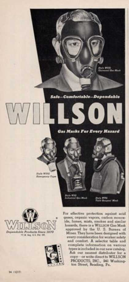 Willson Gas Mask Rr Hazardous Materials (1950)