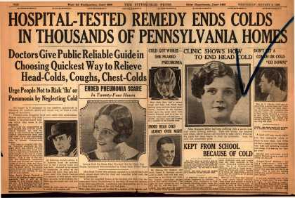Ayer Laboratorie's Ayer's Cherry Pectoral – Hospital-Tested Remedy Ends Colds In Thousands Of Pennsylvania Homes (1929)