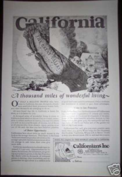 Antique California Great Valley Travel Magazine (1923)