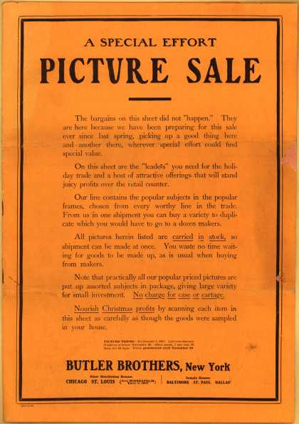 Butler Bros.&#8217;s pictures &#8211; A Special Effort Picture Sale (1907)