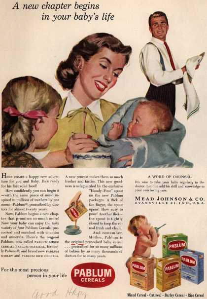 Mead Johnson and Company's Pablum – A new chapter begins in your baby's life (1952)
