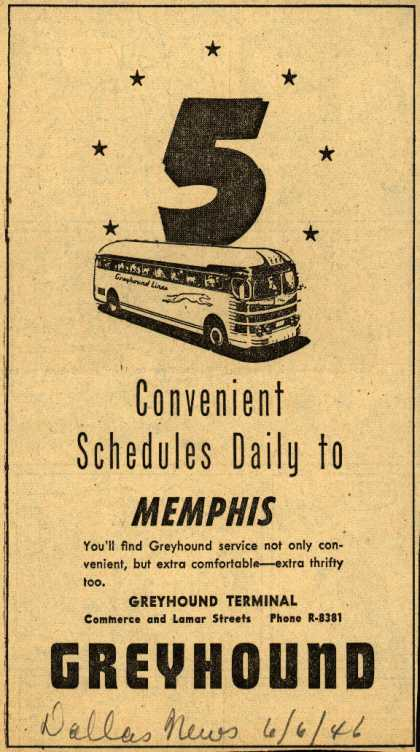 Greyhound's Memphis – 5 Convenient Schedules Daily to Memphis (1946)