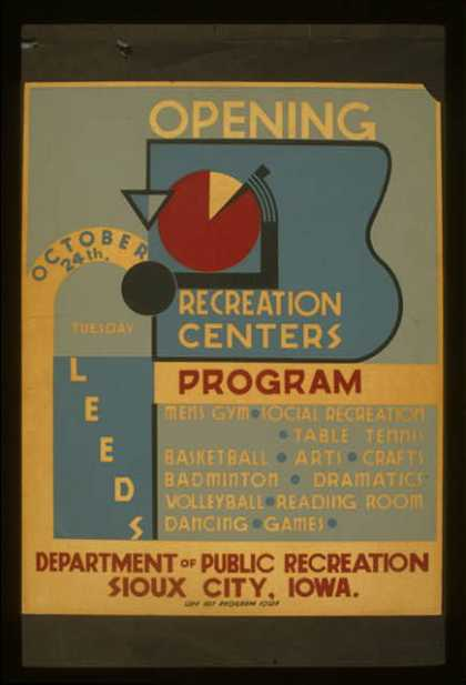 Opening October 24th Leeds recreation centers. (1939)