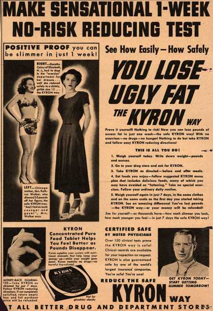 Unknown's Kyron Tablets – Make Sensational 1-Week No-Risk Reducing Test See How Easily – How Safely You Lose Ugly Fat The Kyron Way (1949)