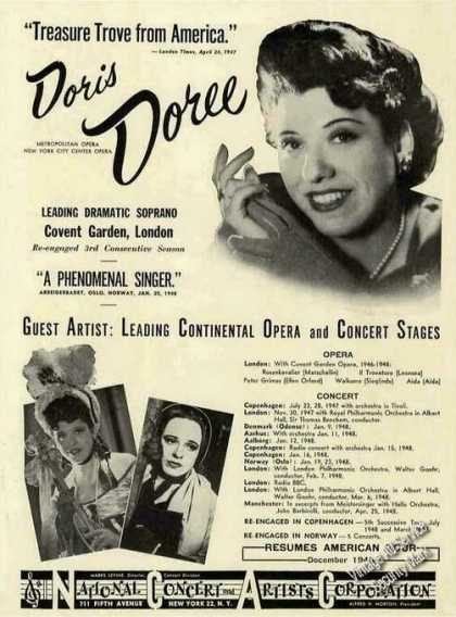 Doris Doree Photo Opera & Concert Booking (1948)