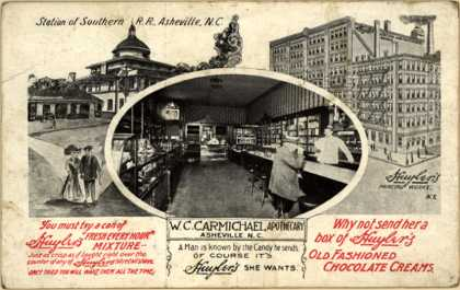 W. C. Carmichael, Apothecary's Huyler's Old Fashioned Chocolate Creams – You must try a can of Huyler's mixture -