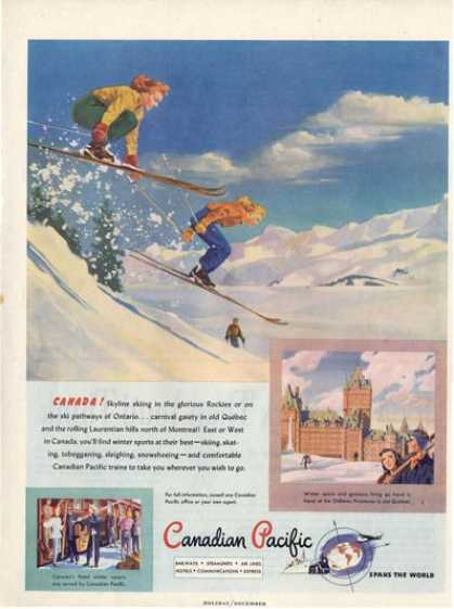 Canadian Pacific Ski Snow Skiing Art Ad T (1947)