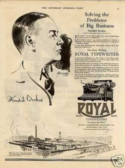 Royal Typewriter Ad Standish Backus (1925)