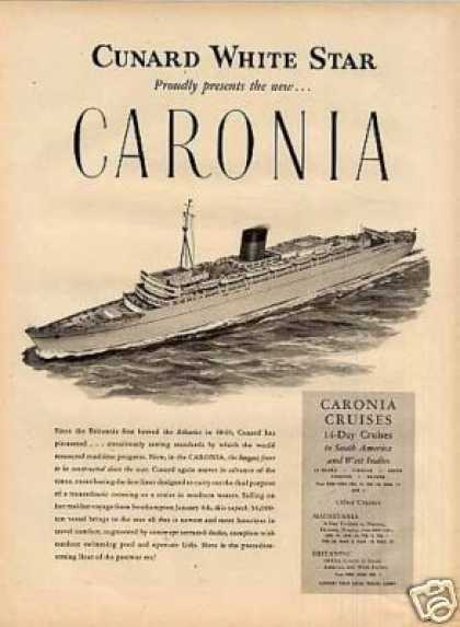 Cunard White Star Ad Carolina (1949)