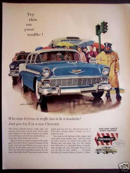 Classic Blue Chevrolet Automobile Car (1956)