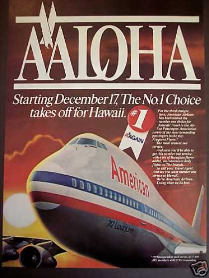 American Airlines Fly To Hawaii Aloha (1980)