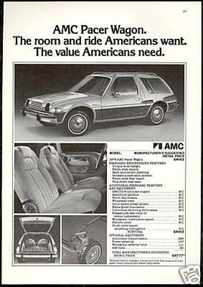 AMC Pacer Wagon Sticker Price Photo Vintage (1978)