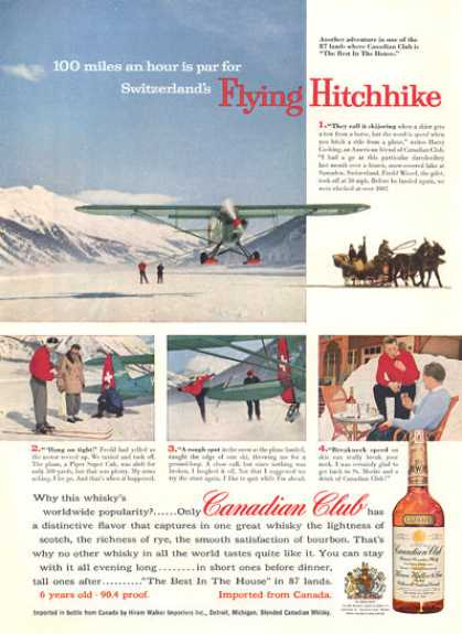 Canadian Club Whisky Snow Ski Behind Ski Plane (1957)