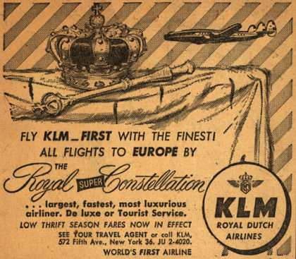 KLM Royal Dutch Airline's Royal Super Constellation – Fly KLM_First With The Finest (1953)