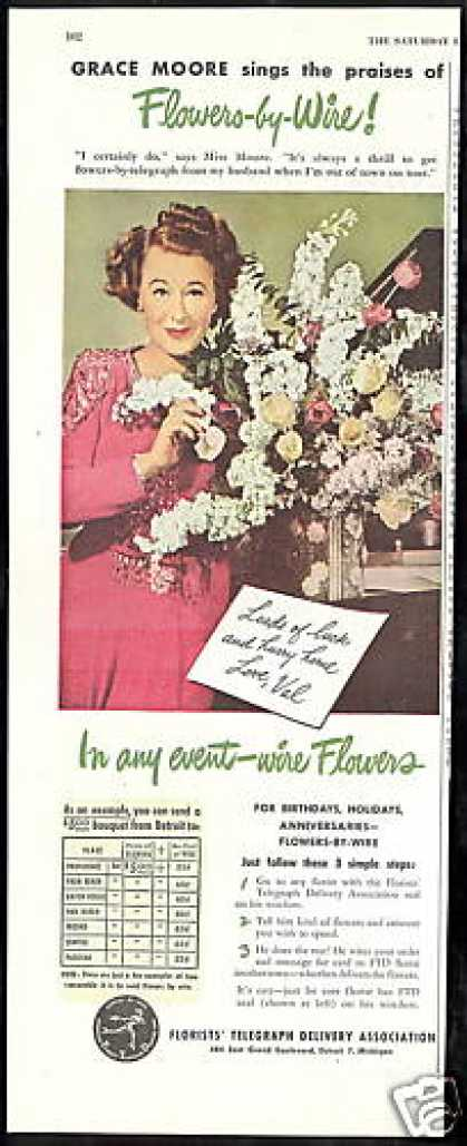 Grace Moore Photo FTD Flowers Florist (1946)