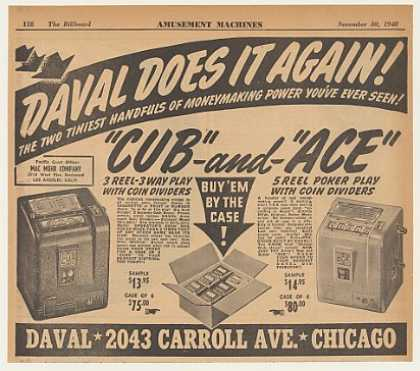 Daval Cub Ace Slot Machine Counter Games (1940)