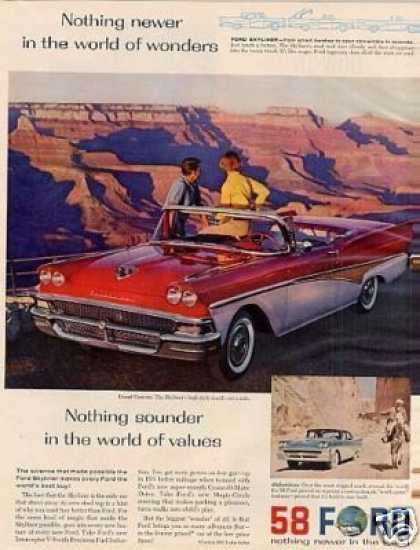 Ford Skyliner Convertible Ad Grand Canyon (1958)