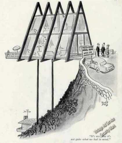 New Yorker Real Estate Print Cartoon By R. Day (1964)