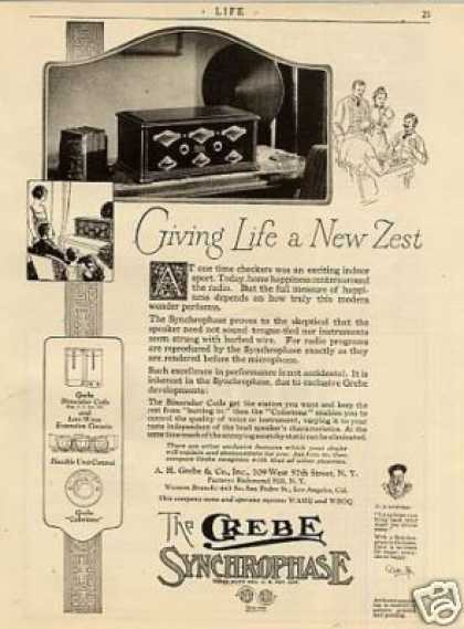 "Grebe Synchrophase Radio Ad ""Giving Life a New... (1926)"