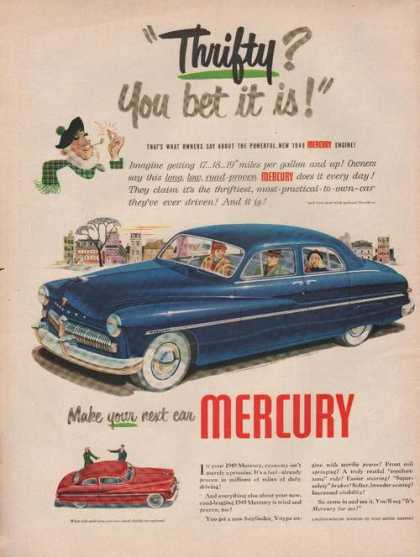 Thrigty You Bet It Is Mercury Blue Car Pri (1949)