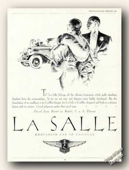 Lasalle Art Companion To Cadillac Car (1928)
