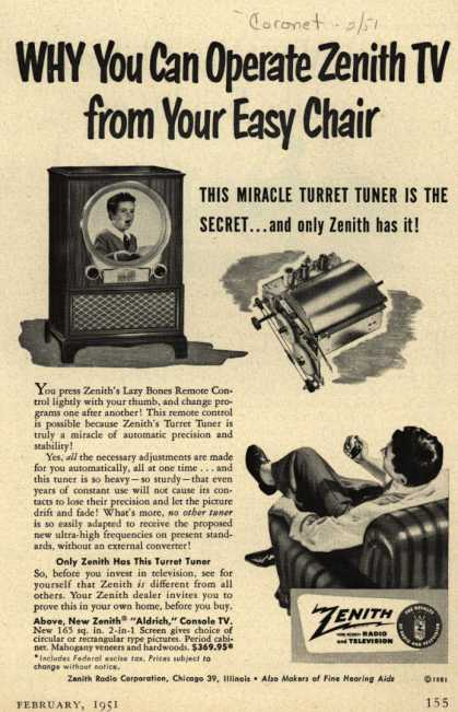 Zenith Radio Corporation's Turret Tuner – WHY You Can Operate Zenith TV from Your Easy Chair (1951)