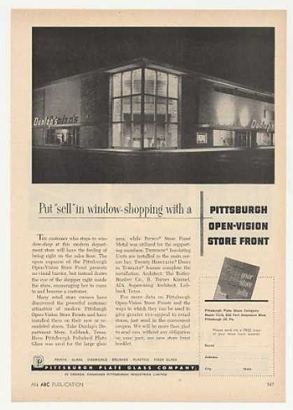 Dunlap's Dept Store Lubbock TX PPG Glass Photo (1957)